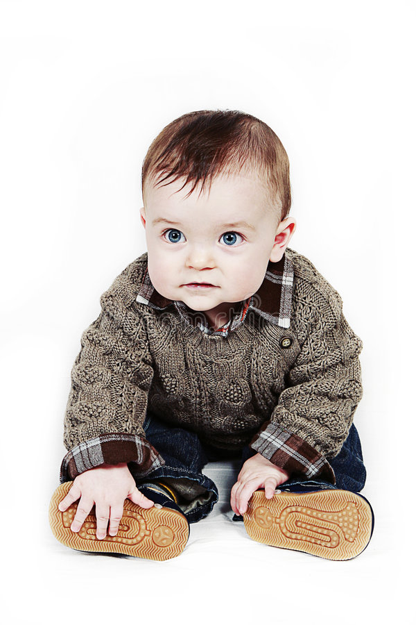 Little Baby Boy on white taken closeup royalty free stock photos
