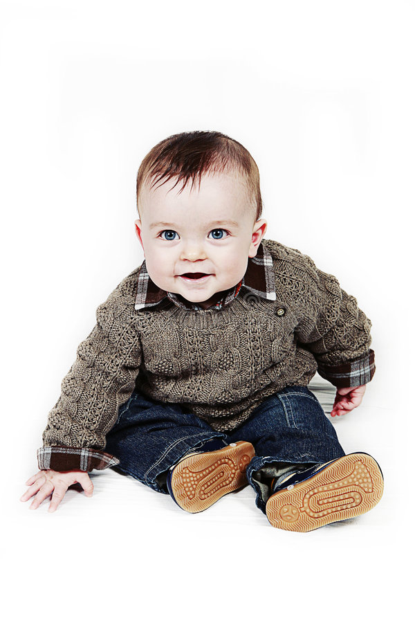 Little Baby Boy on white taken closeup royalty free stock image