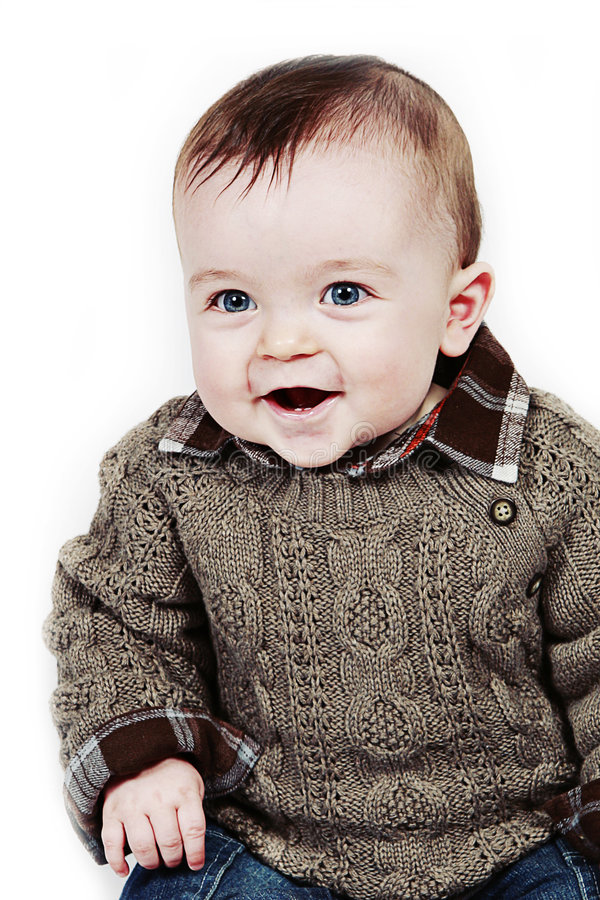 Little Baby Boy on white taken closeup stock photos