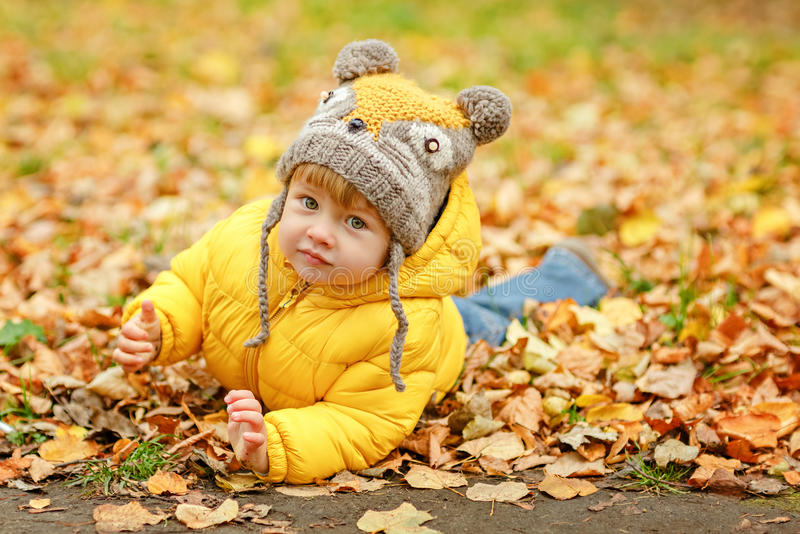 Little baby boy in yellow jacket smiles in autumn royalty free stock image