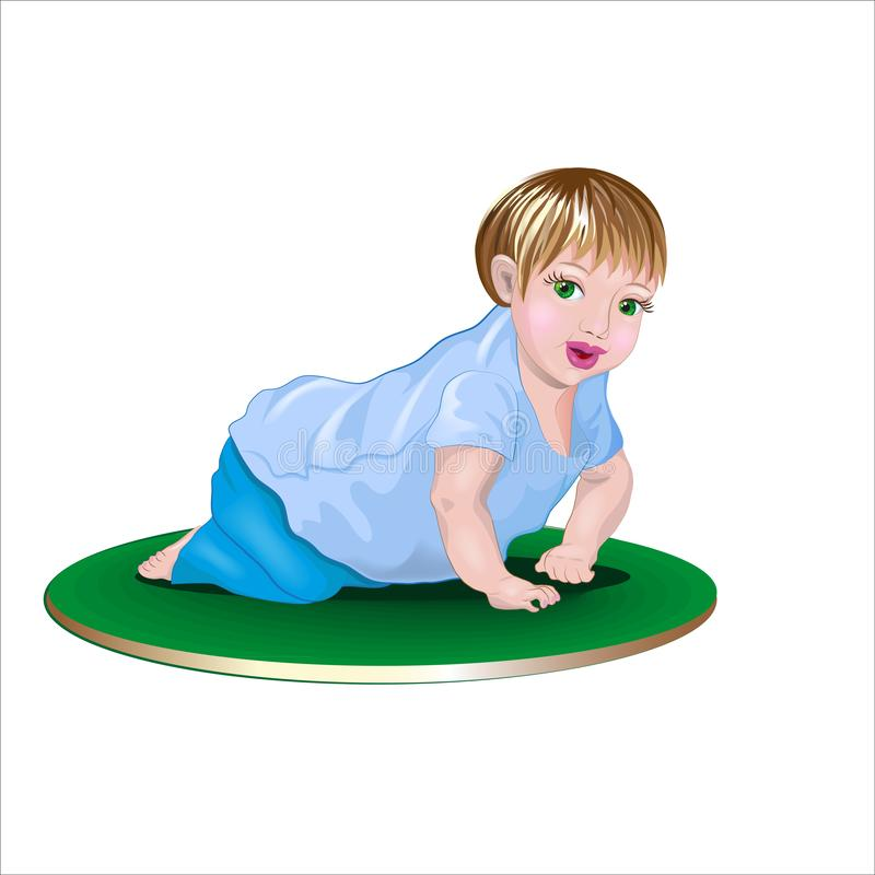 Little baby crawling on the mat vector illustration