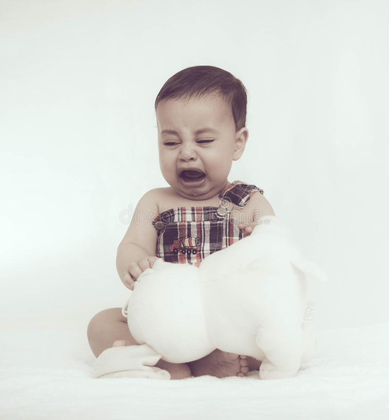 Little baby crying royalty free stock images