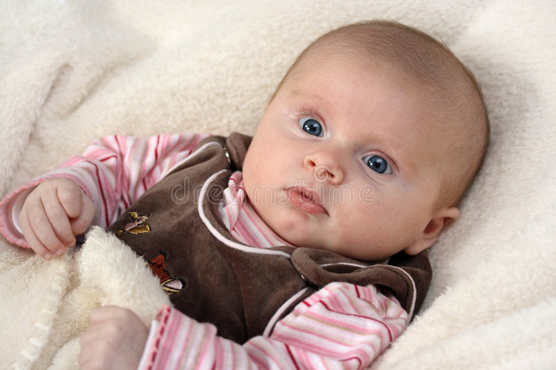 Download Little baby girl stock photo. Image of person, young, expression - 4111592