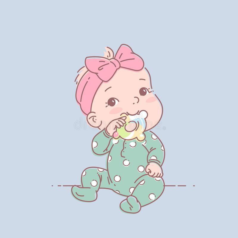 Little baby girl in green pajamas sit, hold teething ring. Cute toddler child with toy in mouth. Color vector illustration. Baby wear jumpsuit. First year vector illustration