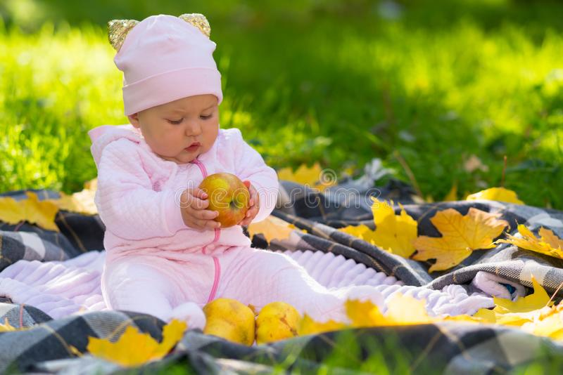 Little baby girl holding an autumn apple. Little baby girl holding an autumn apple looking at it curiously as she sits on a rug on a lawn in the garden stock images