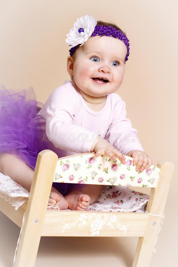 Download Little Baby Girl Laughing In The Bed Stock Image   Image Of Merry,  Eyes