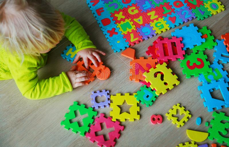 Download Little Baby Girl Learning Numbers And Math Stock Image - Image of shape, puzzle: 114288835