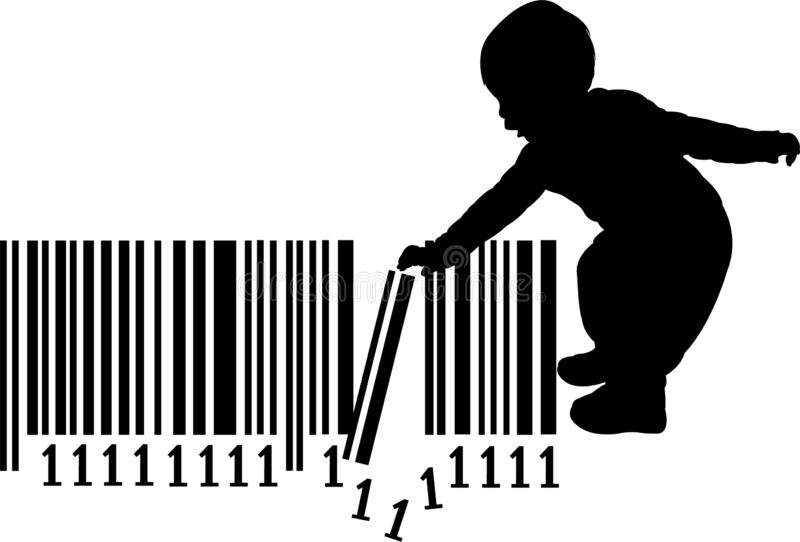 A little baby girl playing with barcode, silhouette vector. A little baby girl playing with barcode, black color silhouette vector royalty free illustration