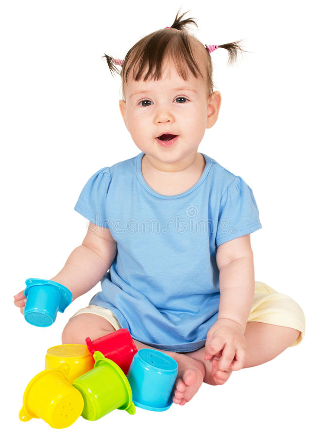 Little Baby Girl Playing With Childs Toy Stacking Royalty Free Stock Photos