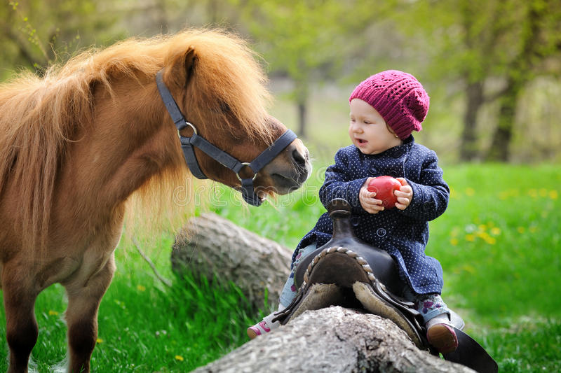 Little baby girl with red apple and pony stock image