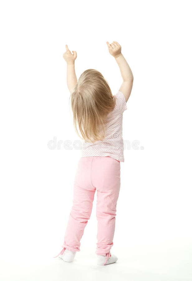 Little Baby Girl Showing Something Above Her Royalty Free Stock Photography