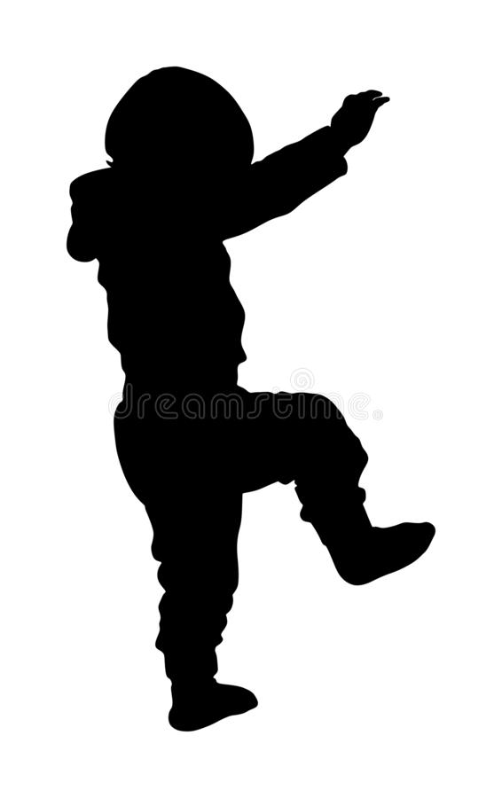 Little baby learning to walking vector silhouette. First steps in life. Kid play in kindergarten. Child learns to walk alone. stock illustration