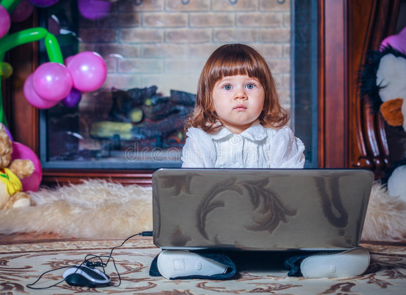 Download Little Baby Playing With Laptop Stock Photo - Image: 28222174
