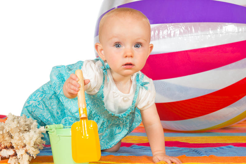 Little baby at the seaside royalty free stock photography