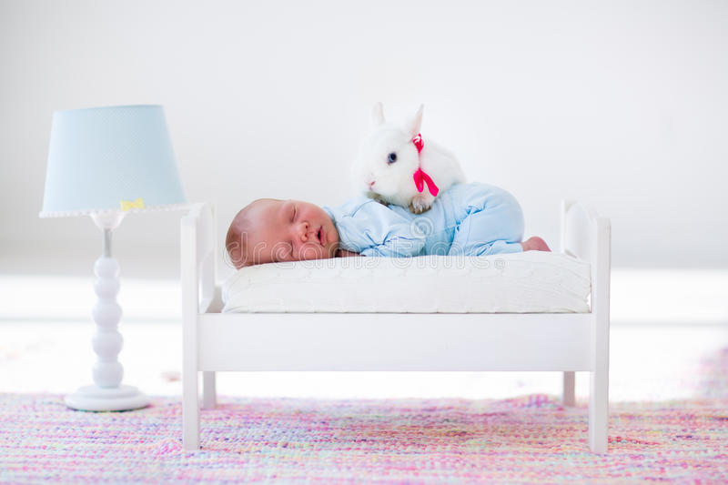 Little baby sleeping in toy bed with pat bunny stock photo