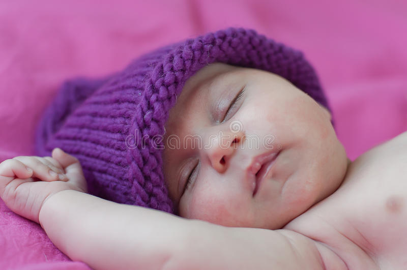 Little Baby Sleeps In Hat Royalty Free Stock Images