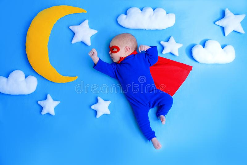 Little baby superhero royalty free stock photography