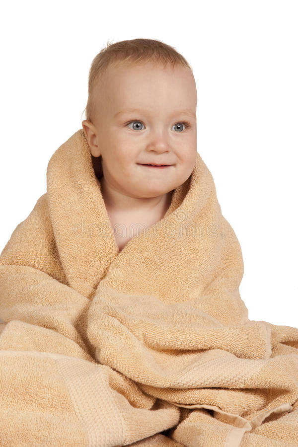 Little Baby In Towel Stock Images