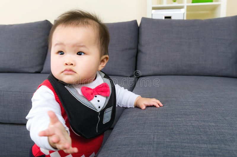 Little baby try to stand royalty free stock images