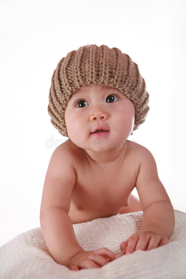 Little Baby Tummy To Camera Royalty Free Stock Image