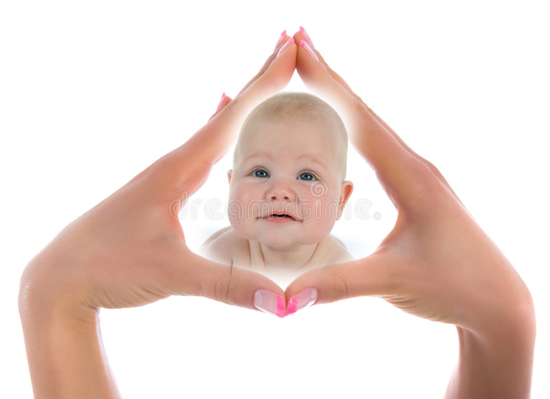 Little Baby on white. Background stock images