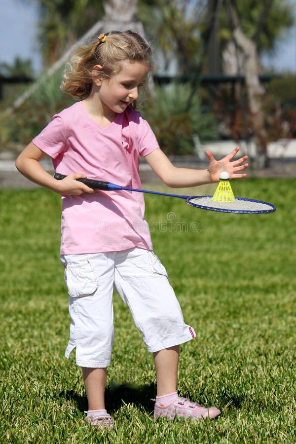 Little badminton player stock image
