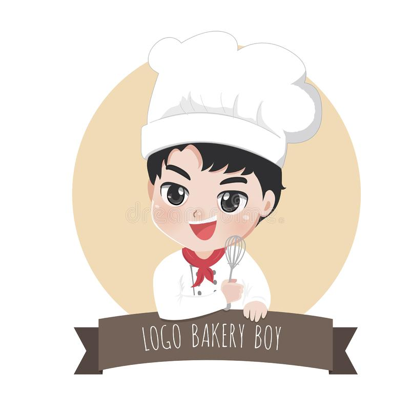 Logo chef boy bakery sweet coco. The little bakery boy chef `s logo is happy,tasty and sweet smile stock illustration