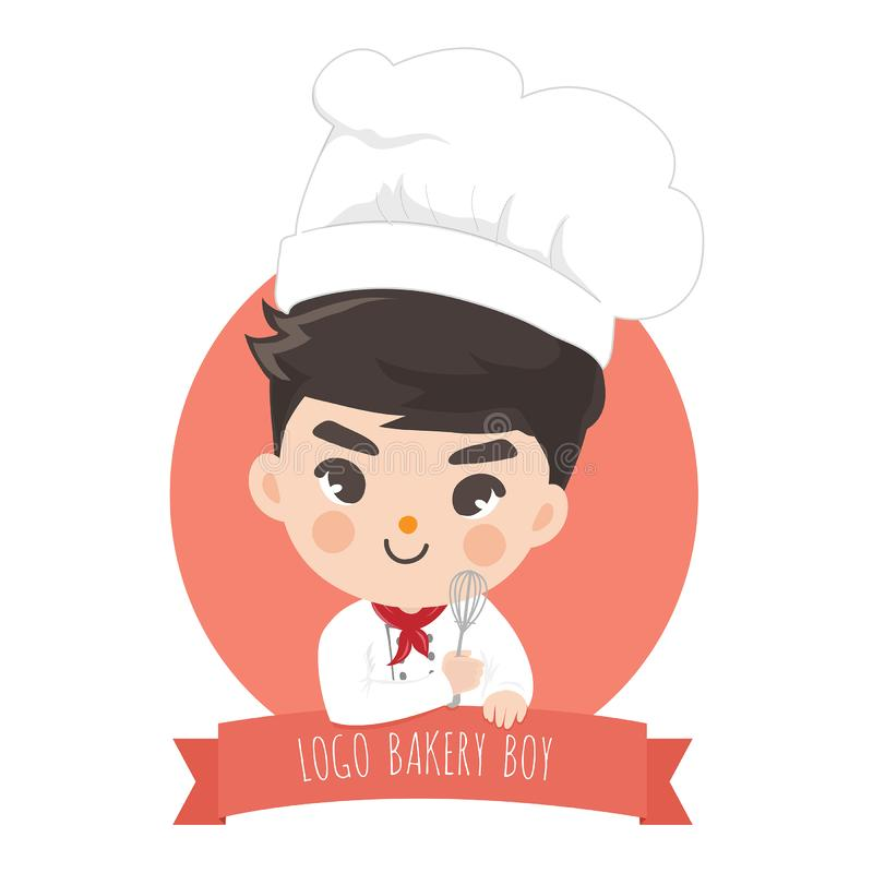 Logo chef boy bekery cute. The little bakery boy chef`s logo is happy,tasty and sweet smile royalty free illustration