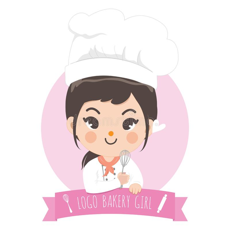 Logo bekery chef cute girl. The little bakery girl chef`s logo is happy,tasty and sweet smile vector illustration