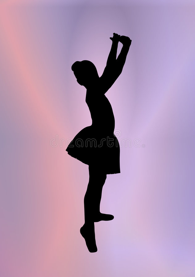 Little Ballerina 2. Silhouette of young ballerina posing on pink and purple background royalty free illustration