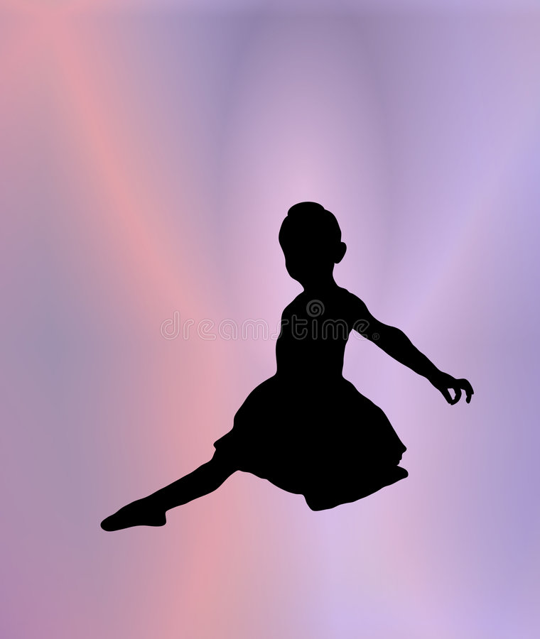 Little Ballerina 3. Silhouette of young ballerina posing on pink and purple background stock illustration