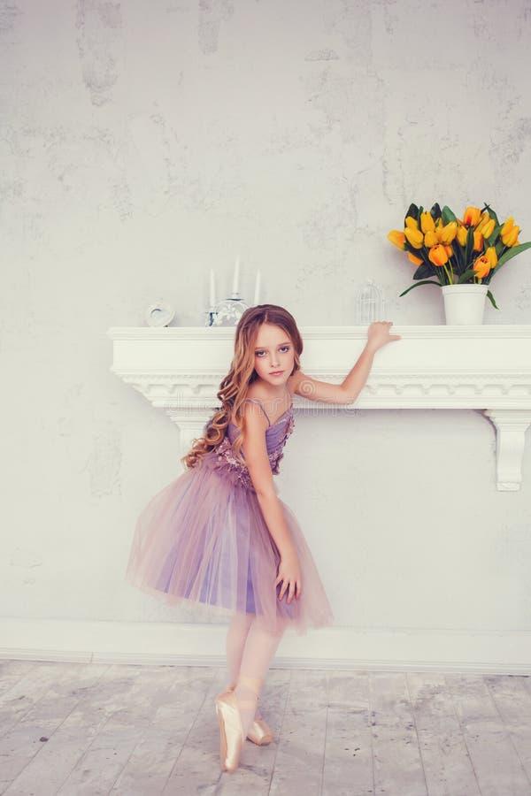 Little ballerina girl in a tutu stock photo