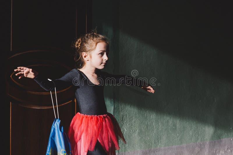 Little ballerina red tutu. Girl dancing royalty free stock photos