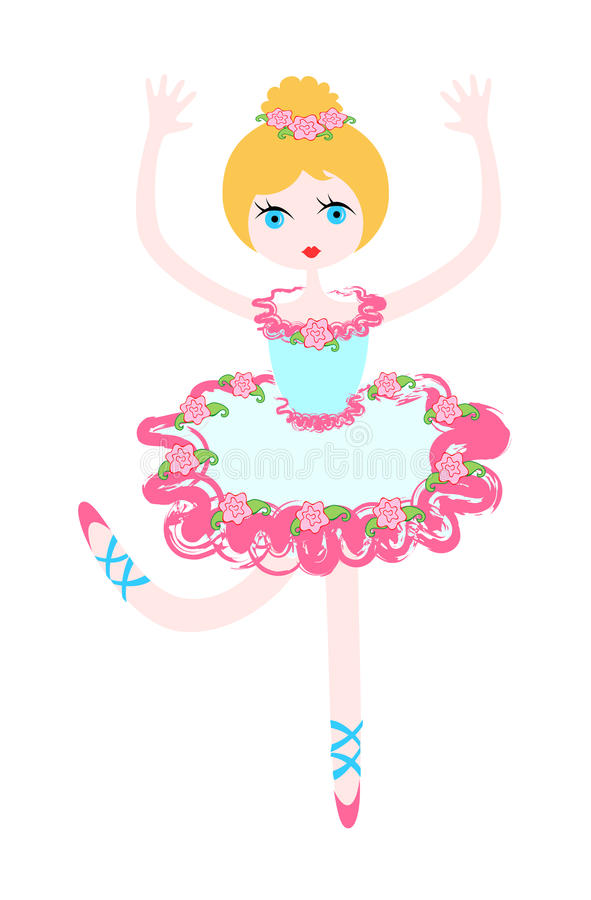 Download Little ballerina in rose stock vector. Image of cartoon - 9478257