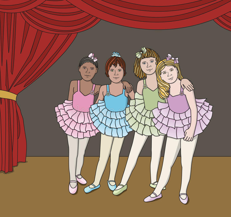 Little Ballerinas. Vector art in Illustrator 8. Pretty little ballerinas in a row, posing for their picture up on stage after the recital. Ballerina's royalty free illustration