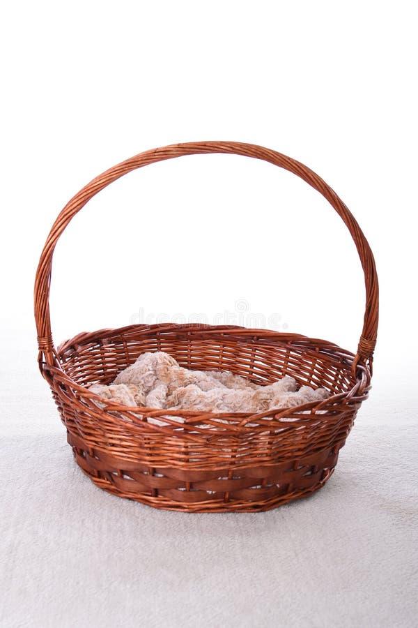 Little basket with white backround royalty free stock image