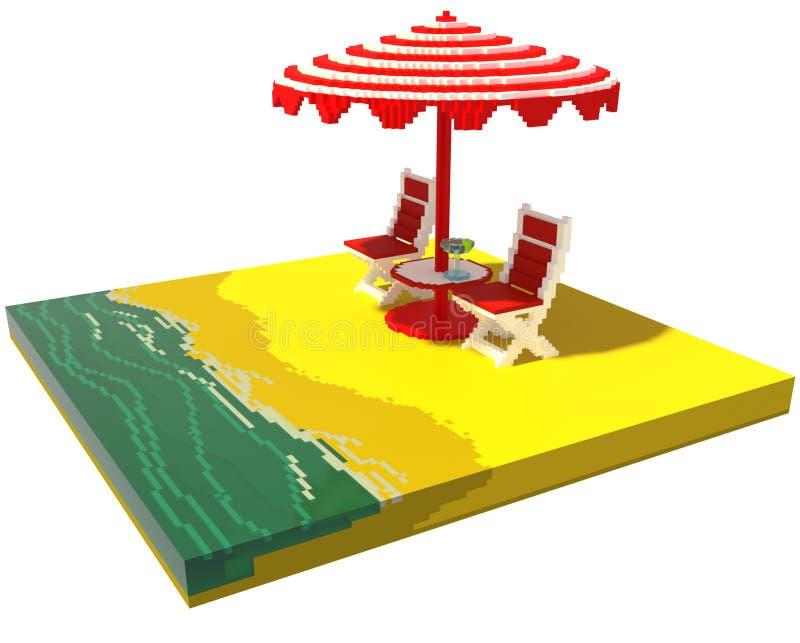 Little beach landscape - 3d voxel art stock illustration
