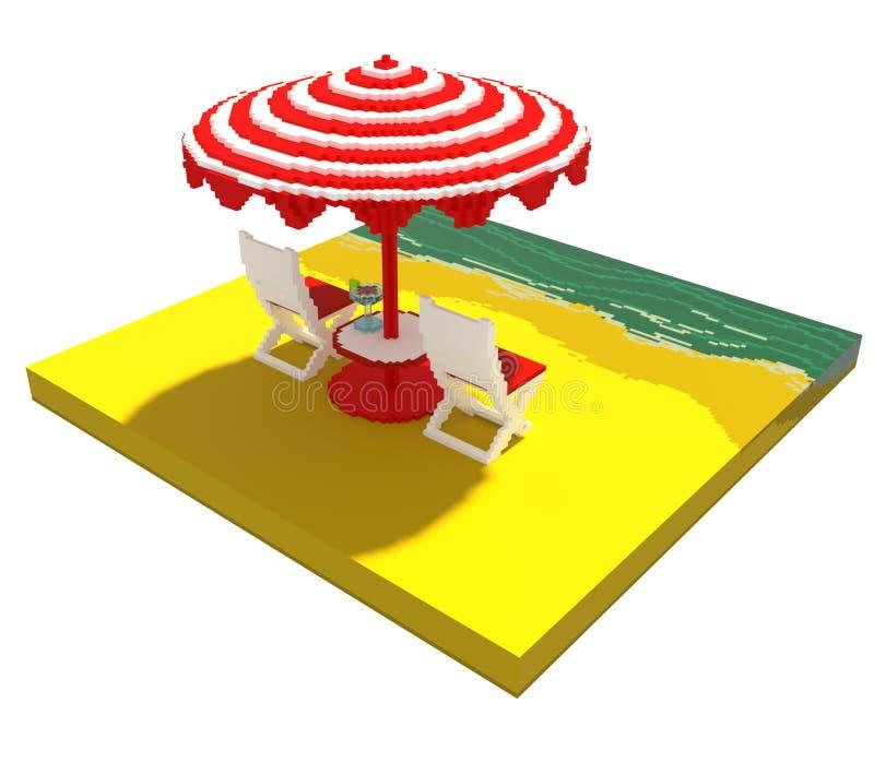 Little beach landscape - 3d voxel art vector illustration