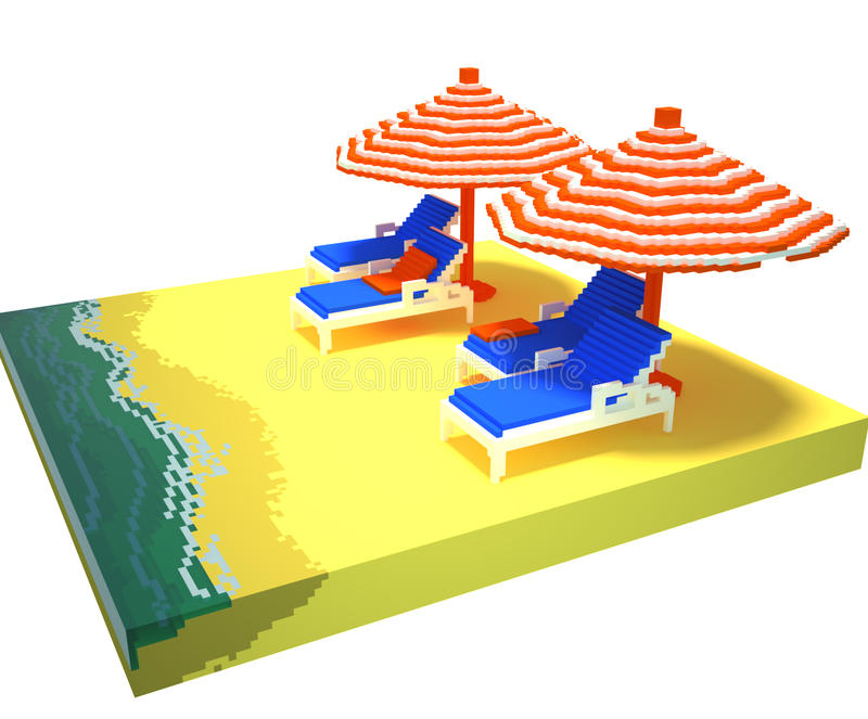 Little beach landscape - 3d voxel art royalty free illustration