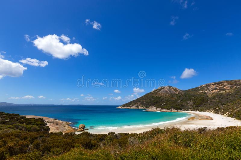 Little Beach , Mt Gardner at Two peoples Bay conservation reserve in Albany, Australia. Little Beach with white sand, beautiful sapphire blue shade of sea water stock photo