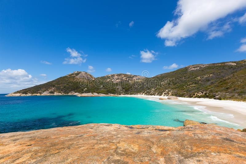 Little Beach at Two peoples Bay conservation reserve in Albany,. Little Beach with white sand, beautiful sapphire blue shade of sea water, Mt Gardner at Two royalty free stock images