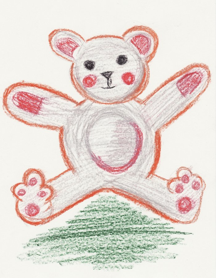Download Teddy Bear Toy Designed With The Style Of A Child Stock Illustration - Illustration of gift, baby: 6483483