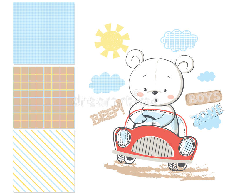 Little bear in car. Surface pattern and 3 seamless pattern royalty free illustration