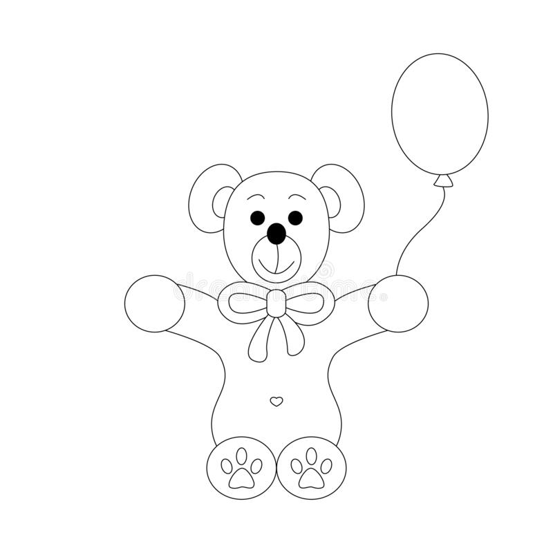 Little bear coloring page. Cute with his balloon. llustration vector. Cute little bear. Coloring page, black and white. Art Therapy. illustration vector stock illustration