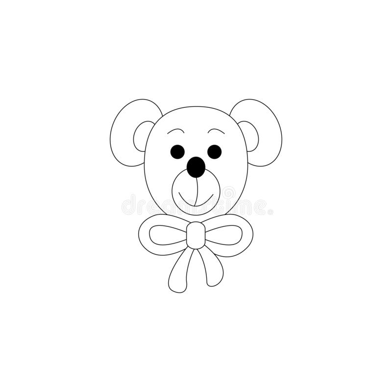 Little bear coloring page. Cute. llustration vector. Cute little bear. Coloring page, black and white. Art Therapy. illustration vector royalty free illustration