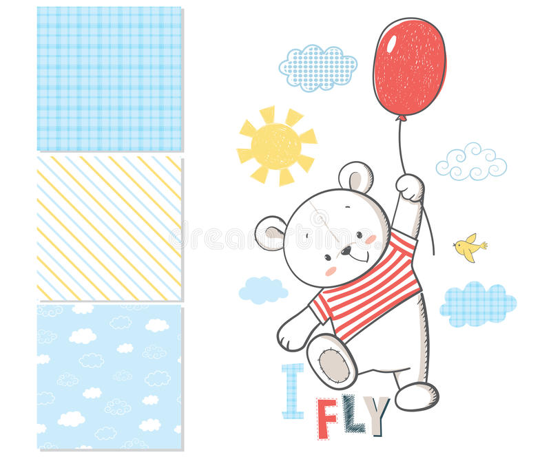 Little Bear is flying in a balloon. Surface pattern royalty free illustration