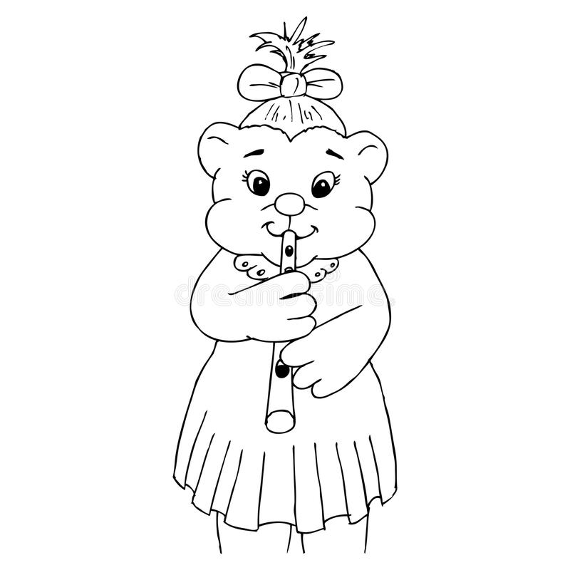 Download Little Bear Girl Playing The Flute Royalty Free Stock Photography - Image: 22801397