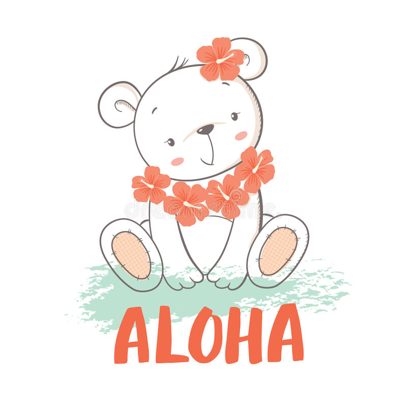 Little bear with hibiscus flowers vector illustration