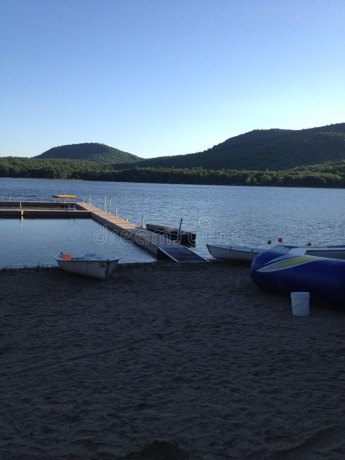 Little Bear Pond. In Maine, USA. Can be seen from Camp Wekeela. The mountain in the back is Bear Mountain stock photo