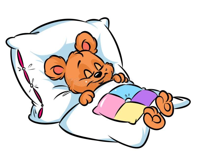 Little Bear Sleeping Cartoon Illustration Stock